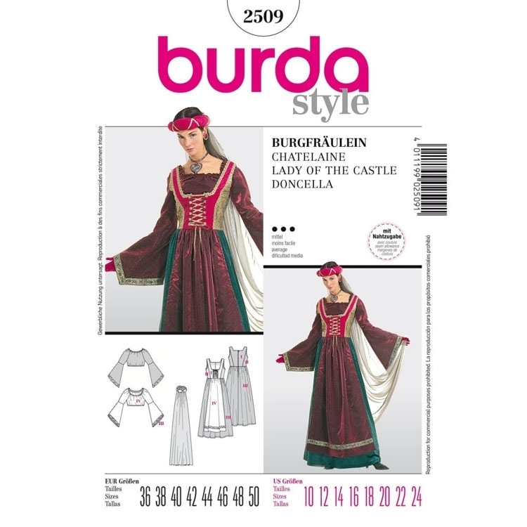Sewing patterns Lady of the castle, Burda 2509