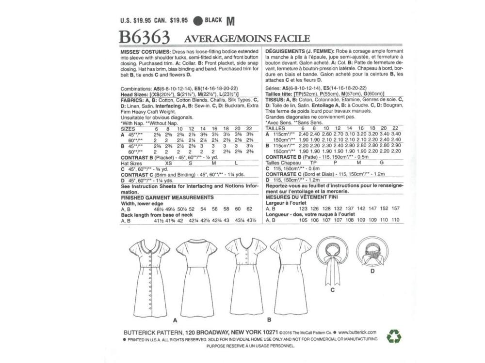 Pattern Butterick 6363 Misses\' Dress with hat | fabrics-hemmers.com