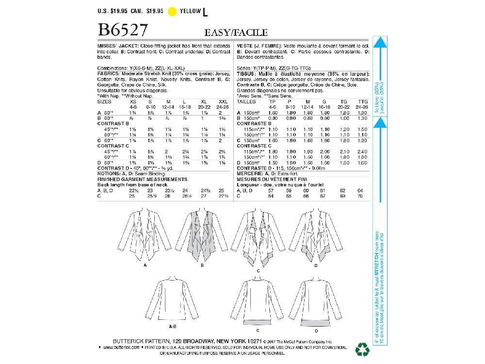 Pattern Butterick 6527 cardigan | fabrics-hemmers.com