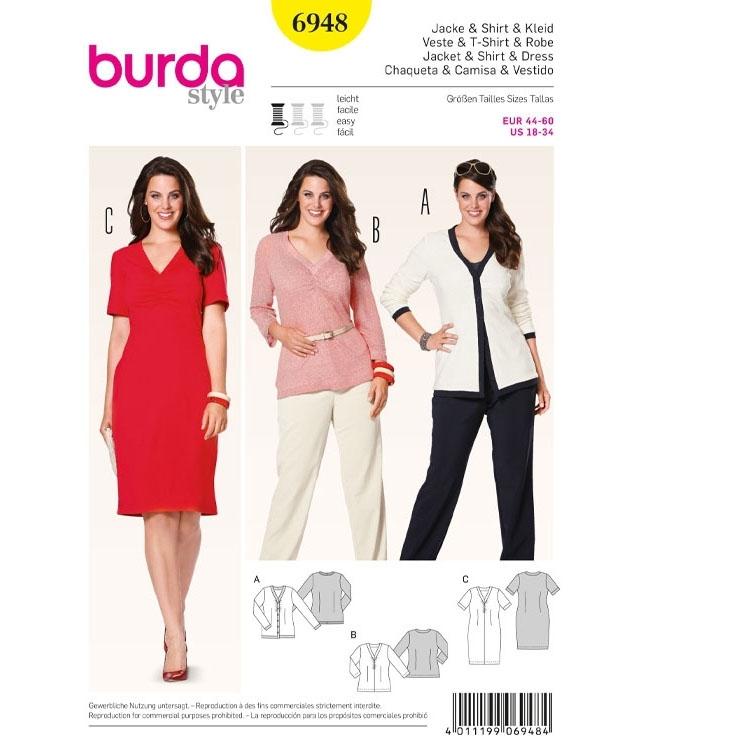 Schnittmuster Cardigan, Shirt, Kleid, Burda 6948
