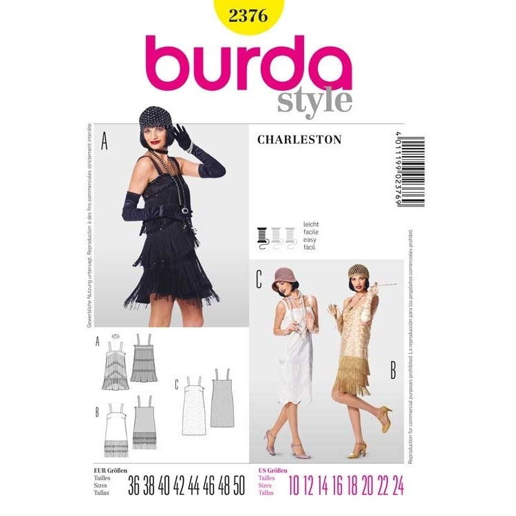 Naaipatroon Charleston jurk, Burda 2376