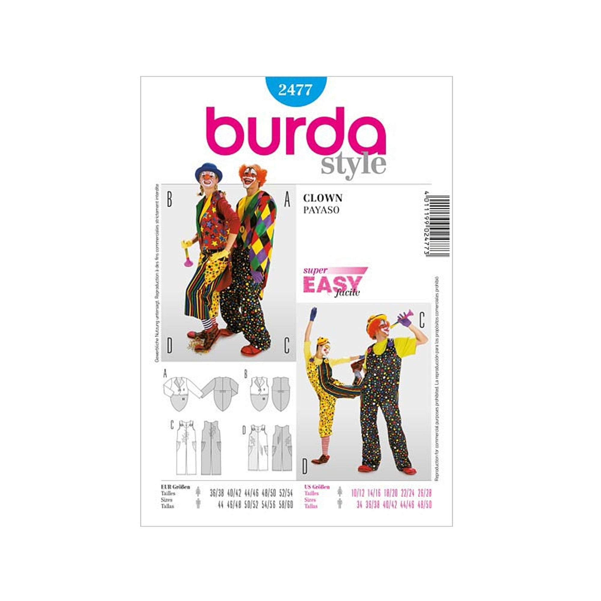 Sewing patterns Clown, Burda 2477
