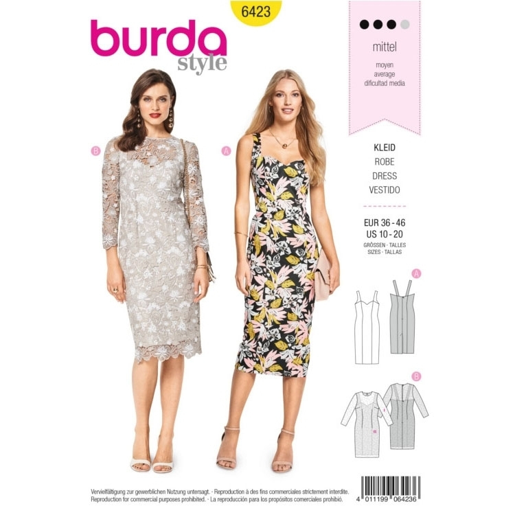 Sewing pattern Burda 6423, cocktail dress | fabrics-hemmers.com