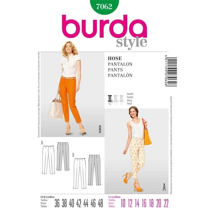 Sewing pattern PANTS, Burda 7062