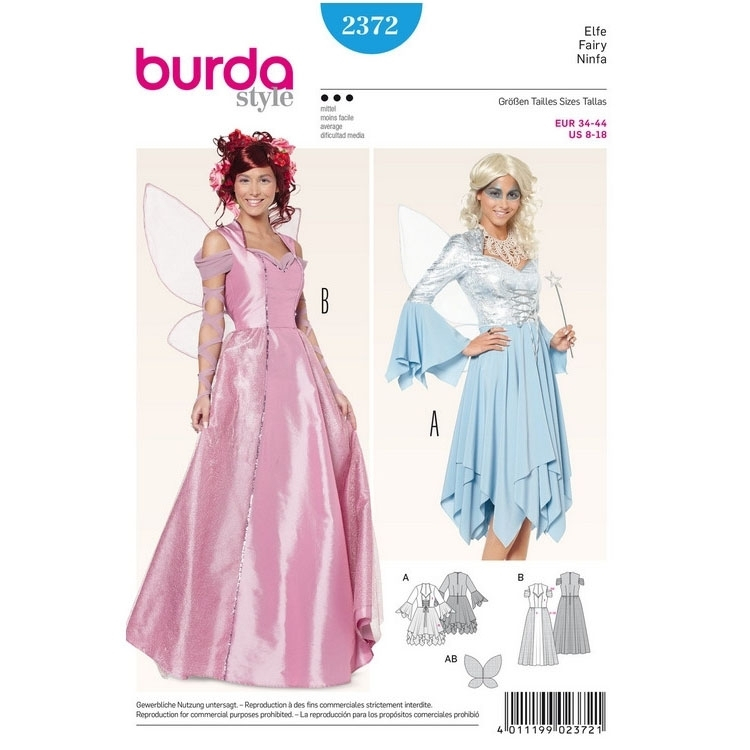 Sewing pattern fairies, dress, Burda 2372