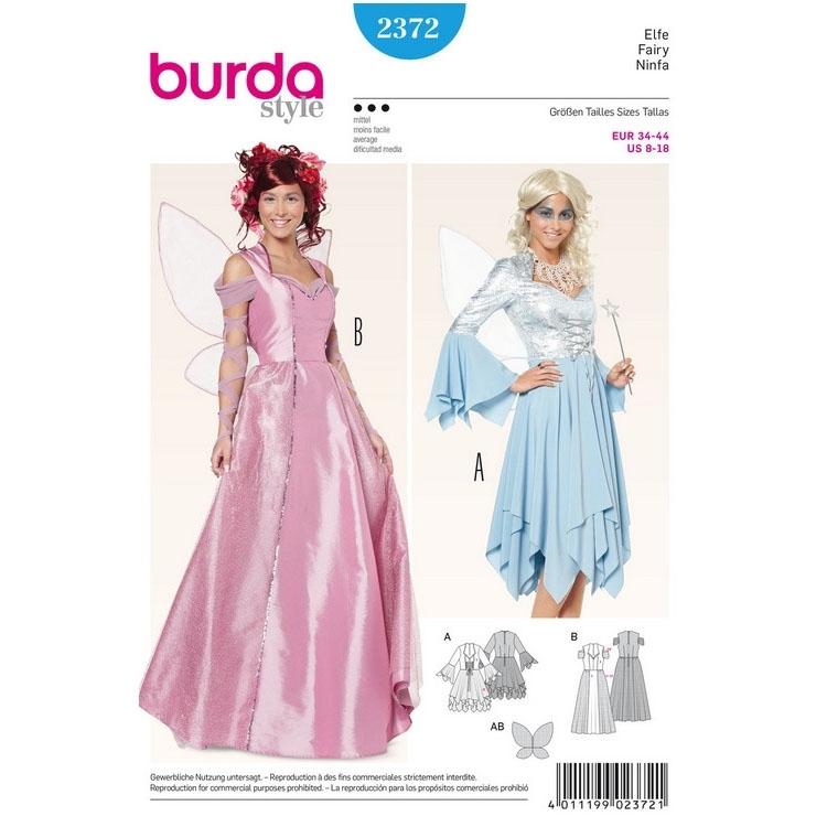 Schnittmuster Elfe Korsagen-Kleid–Zipfelrock–Flügel, Burda 2372 ...