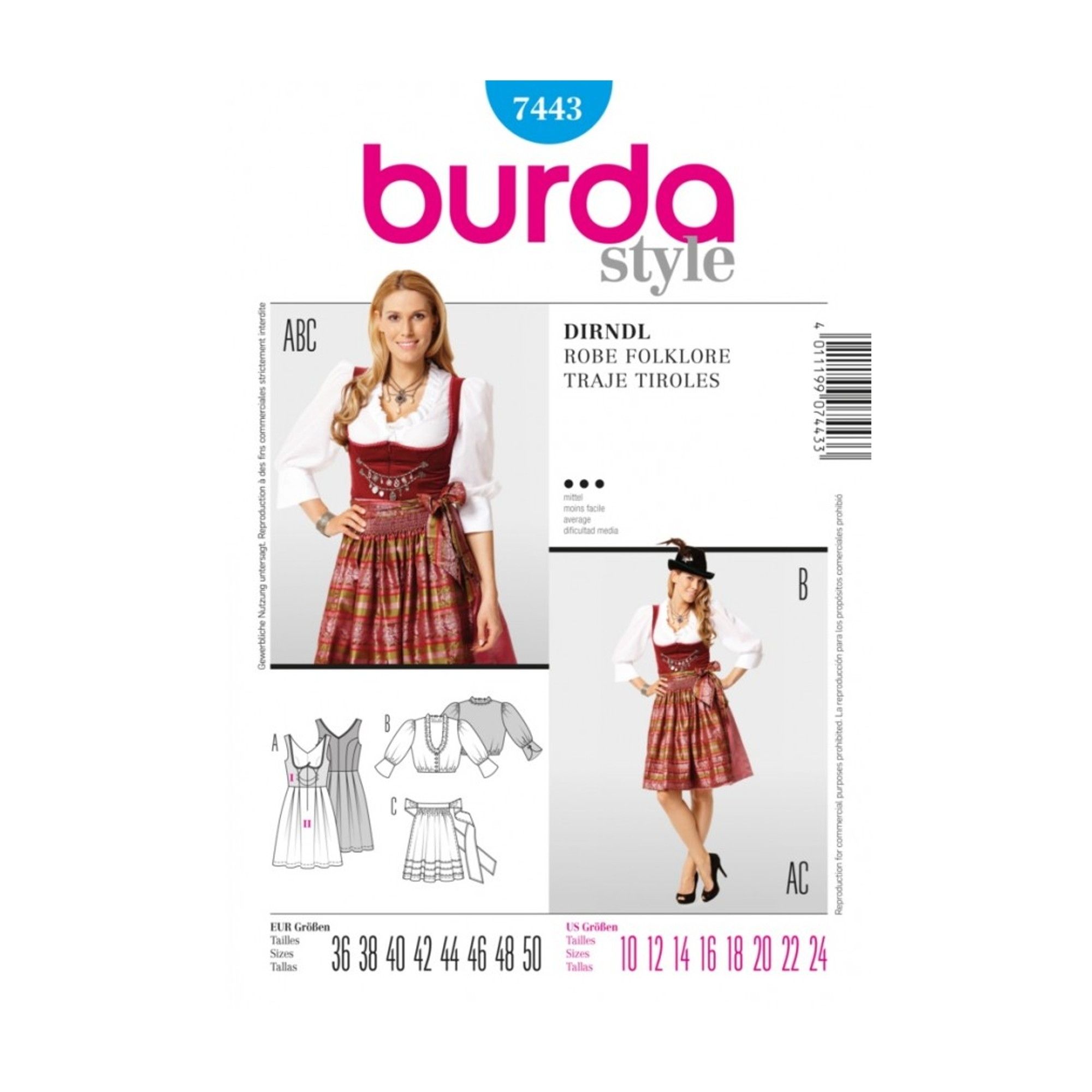 Sewing pattern DIRNDL, Burda 7443