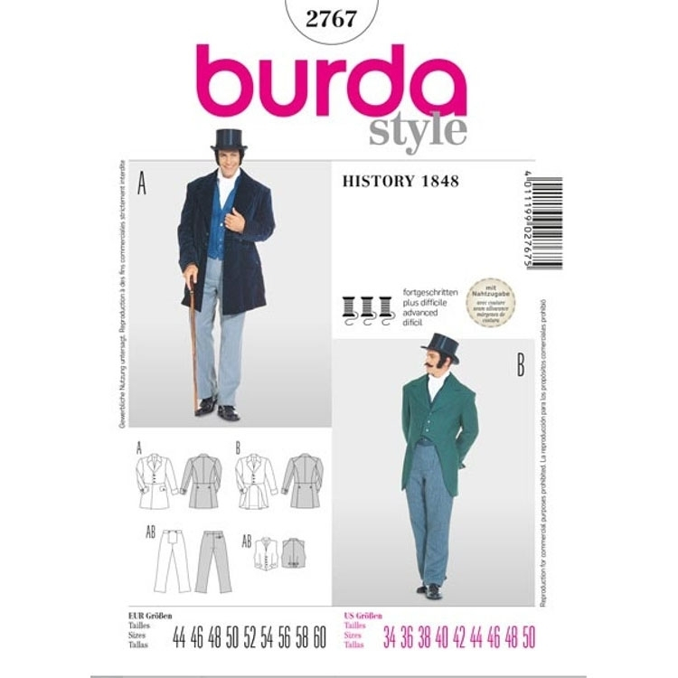 Sewing pattern tails, Burda 2767