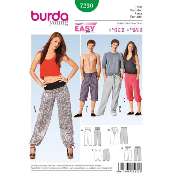 Pattern Pants for him and her, Burda 7230