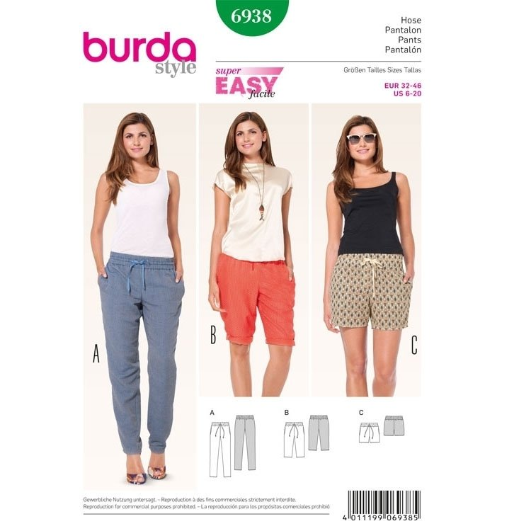 Sewing pattern Trousers - Shorts, Burda 6938
