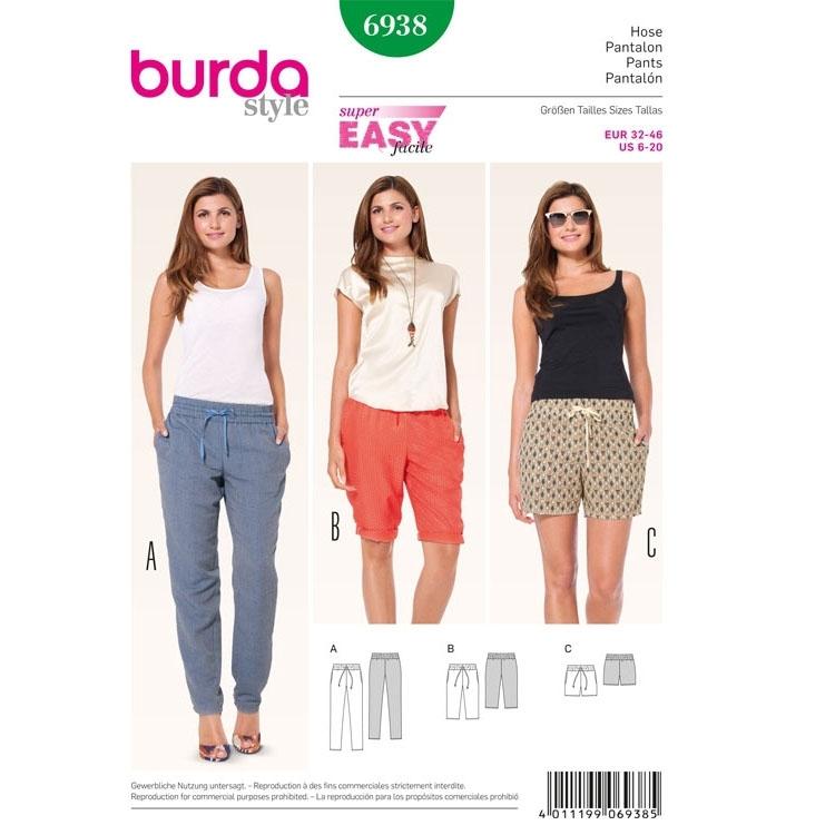 Schnittmuster Gummizughose – Bermudas – Shorts, Burda 6938 | stoffe ...