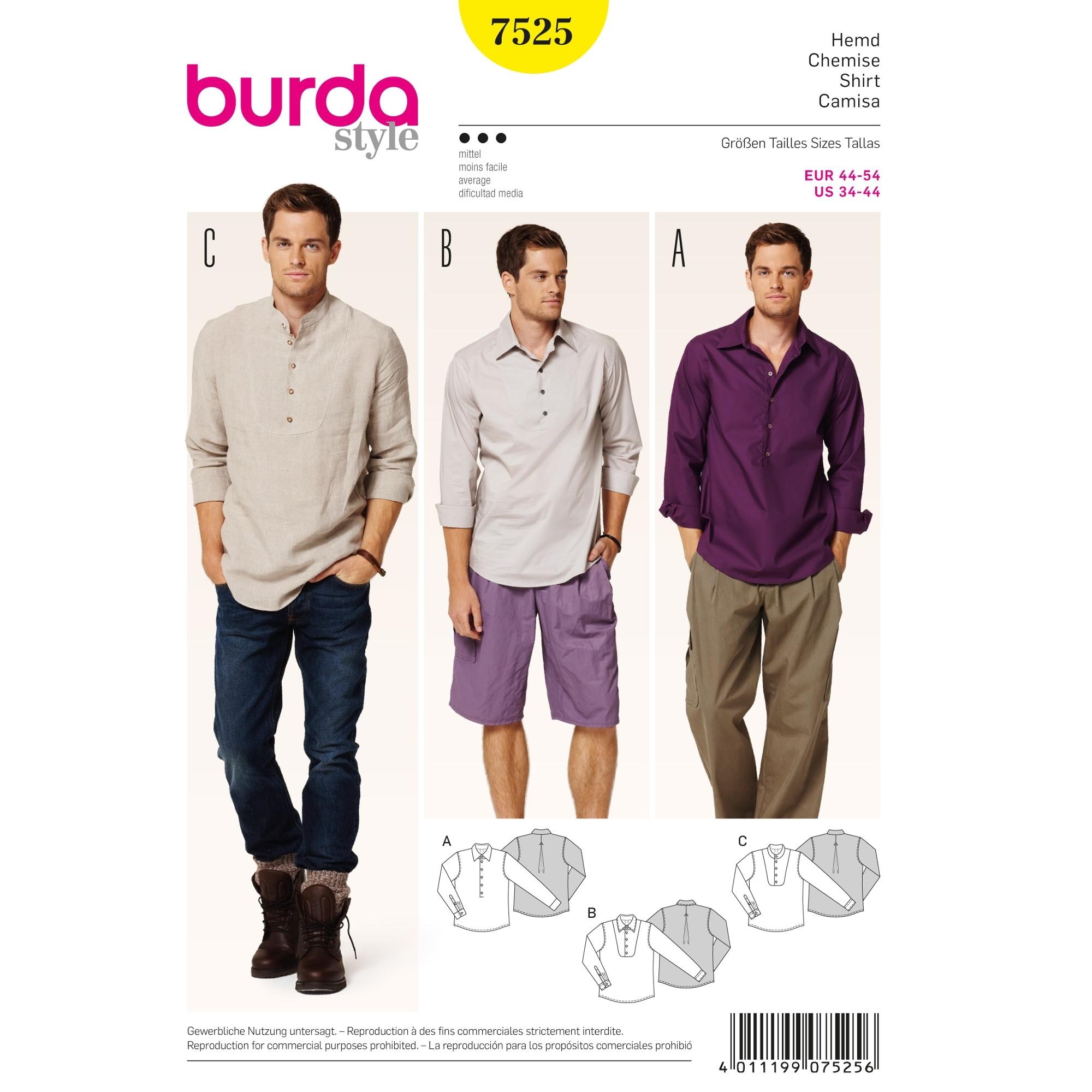 Schnittmuster Hemd, Burda 7525 | stoffe-hemmers.de