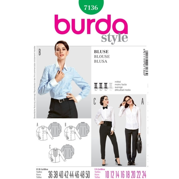 Pattern Blouse with pleats, Burda 7136