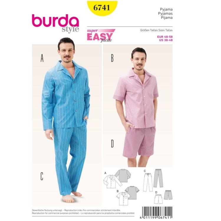 Schnittmuster Herren-Pyjama, Burda 6741 | stoffe-hemmers.de