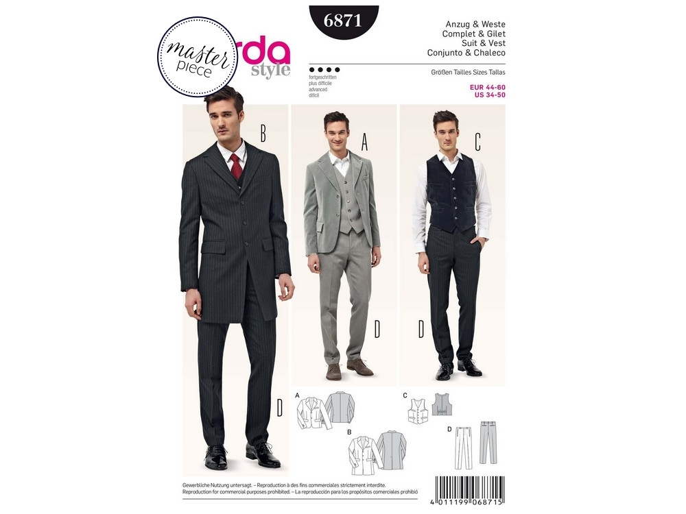 Sewing pattern Suit & Vest, Burda 6871