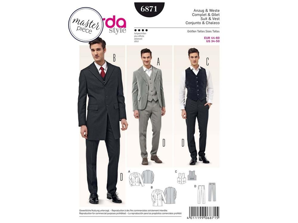 Sewing pattern Suit & Vest, Burda 6871 | fabrics-hemmers.com