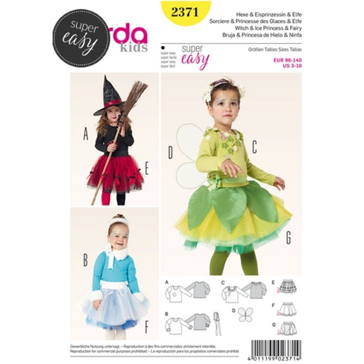 Sewing pattern witches, ice princess & fairies, shirt -skirt, Burda 2371