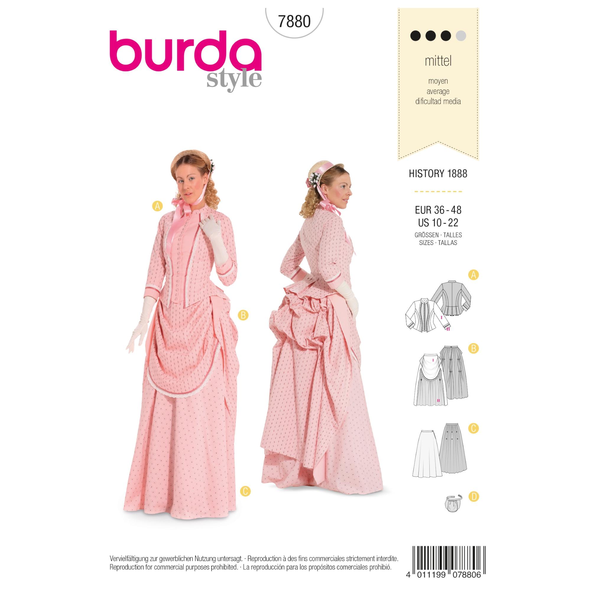 Schnittmuster Historisches Kleid, Burda 7880 | stoffe-hemmers.de