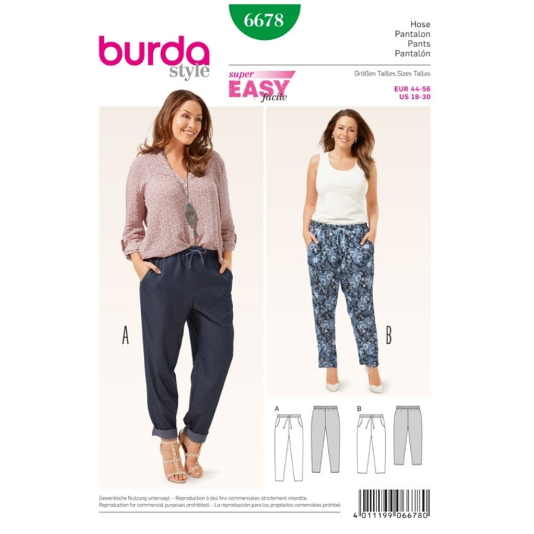 Trousers, Burda 6678