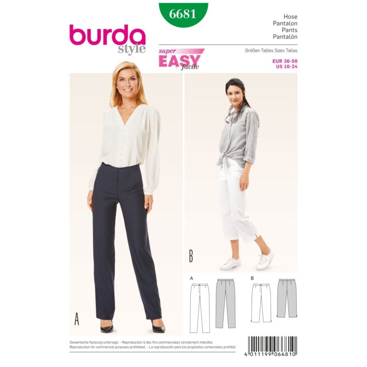 Trousers, Burda 6681