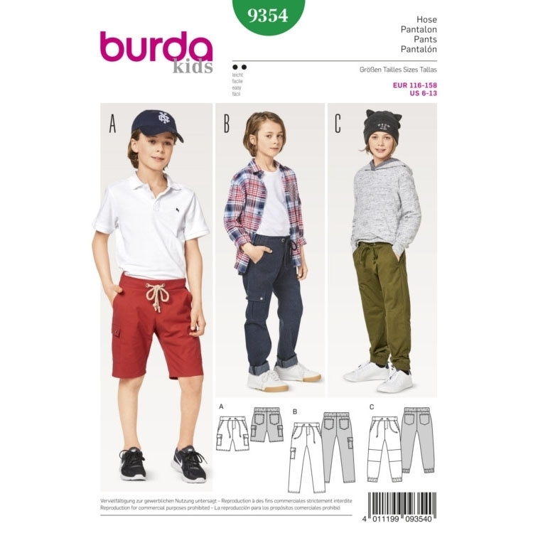 Sewing pattern pants, Burda 9354