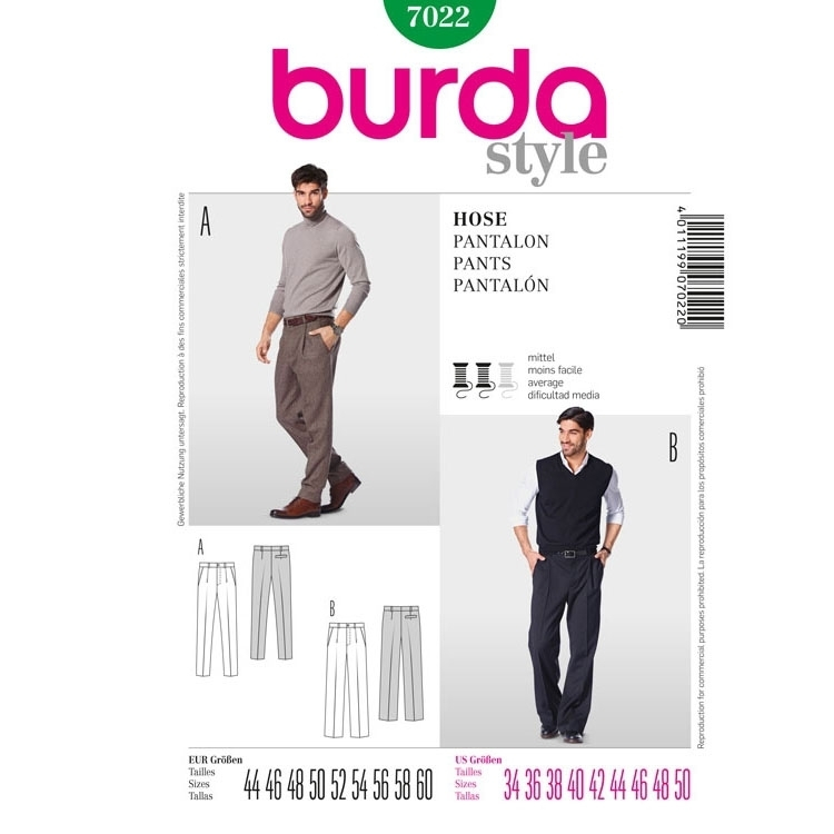 Sewing pattern Pantalon, Burda 7022