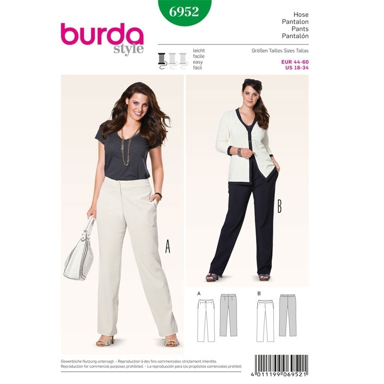 Sewing pattern Trousers, Burda 6952