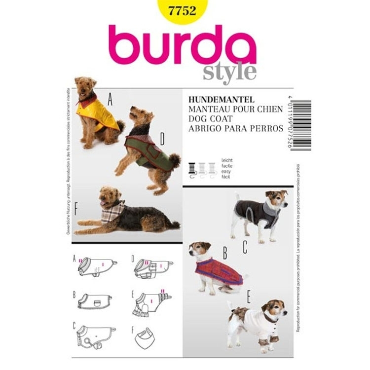 Paper Pattern Dog Coat, Burda 7752