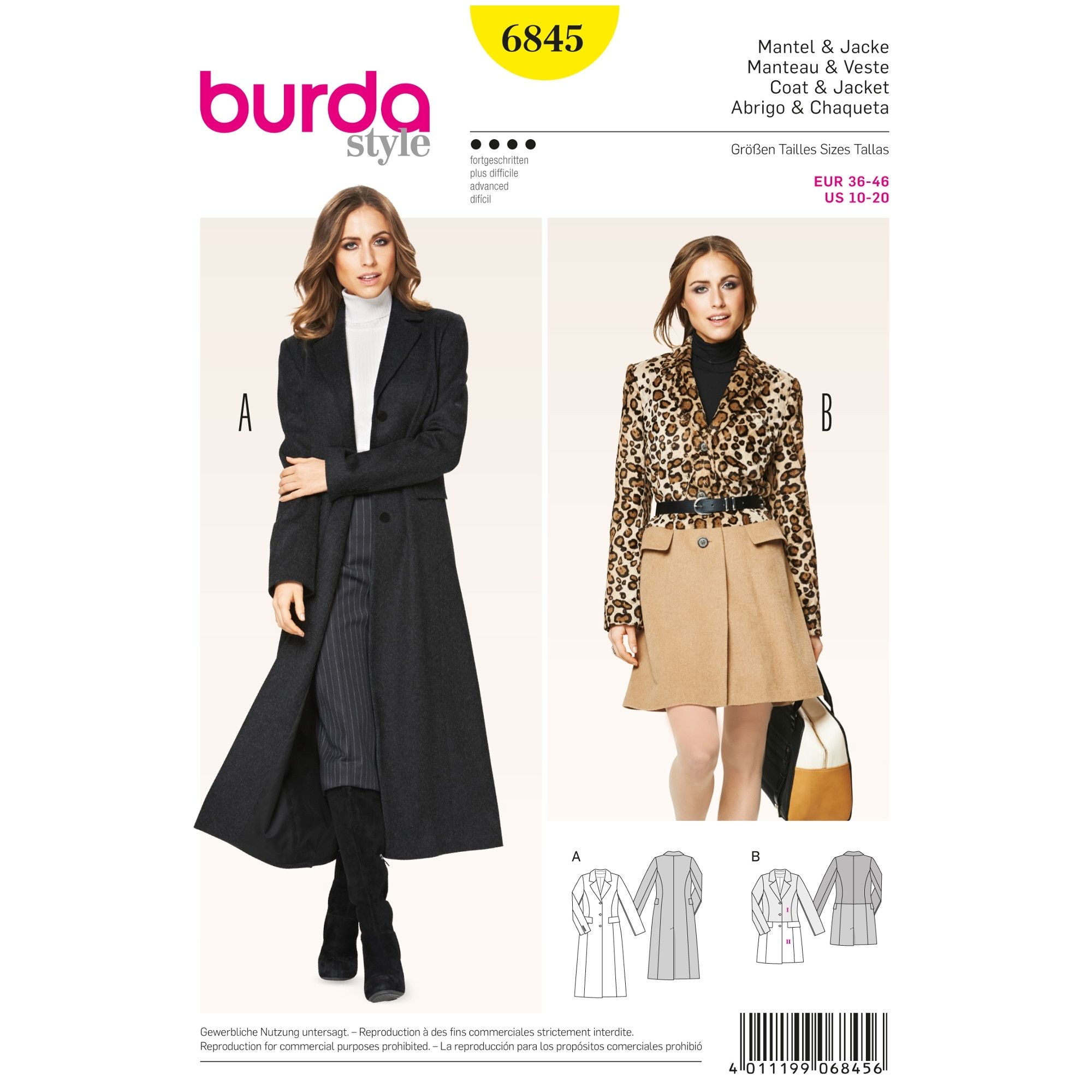 Sewing pattern Manteau, Veste, Burda 6845