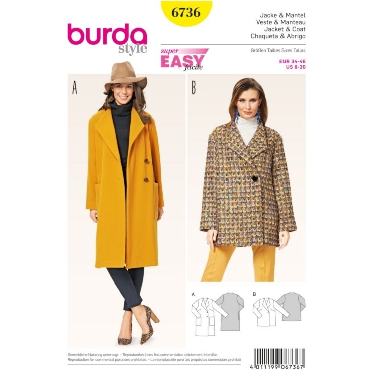 Sewing pattern Jacket & Coat, Burda 6736 | fabrics-hemmers.com
