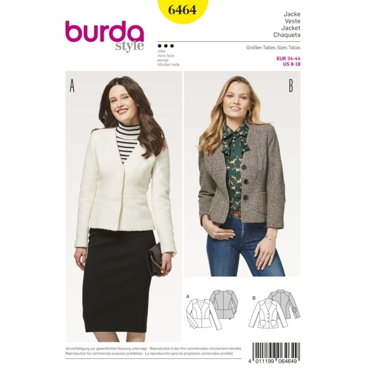 Naaipatroon jas, Burda 6464