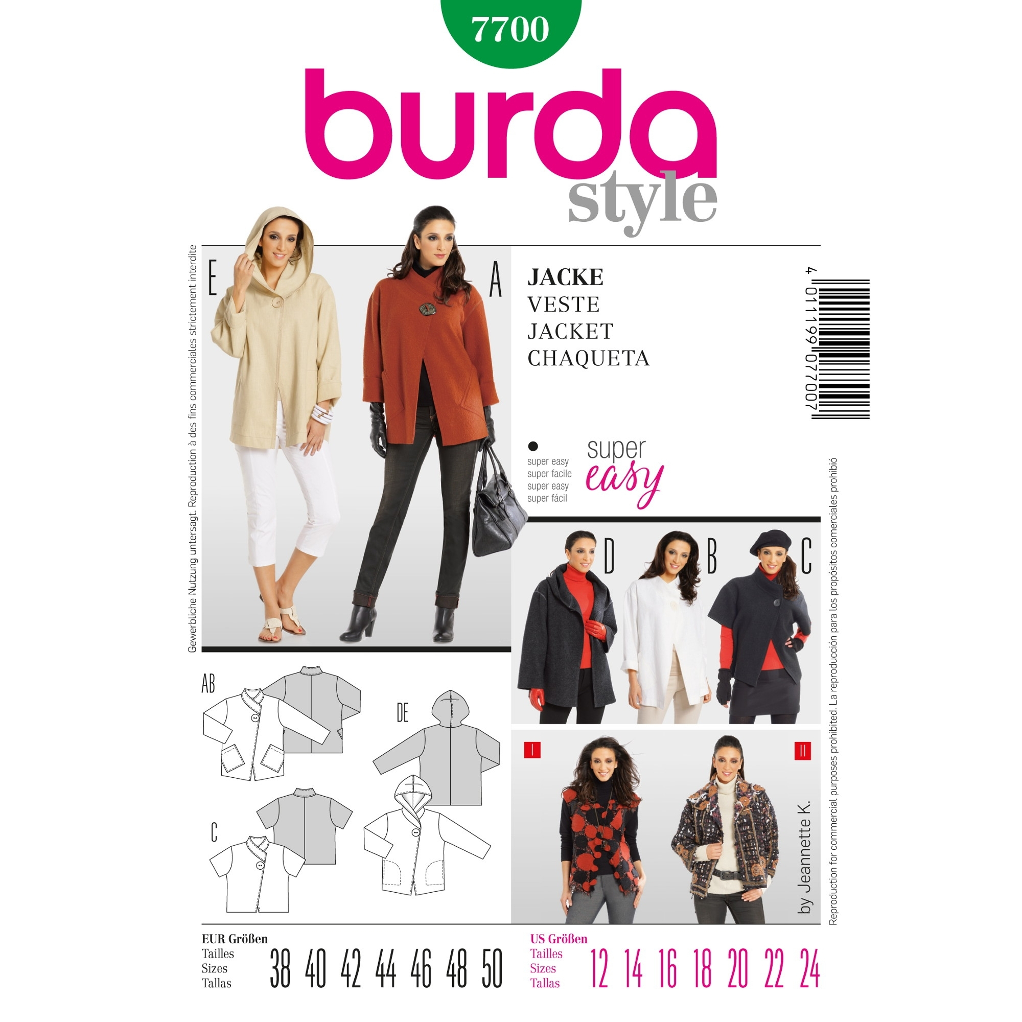 Paper Pattern Jacket, Burda 7700
