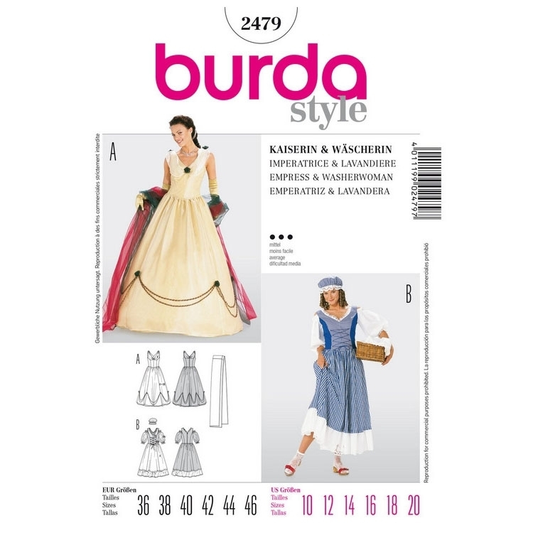 Sewing patterns empress and washerwoman, Burda 2479