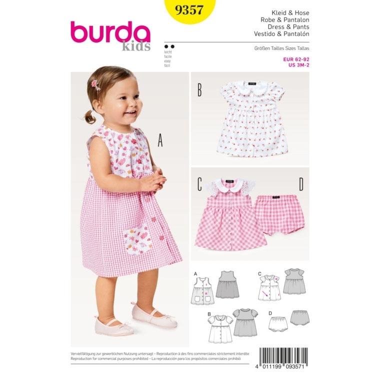Schnittmuster für Kleid mit Bubikragen und Höschen von Burda Nr 9357