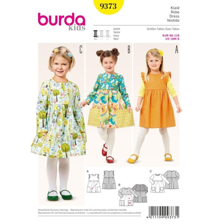 Schnittmuster Kinder Kleid, Burda 9373   stoffe-hemmers.de