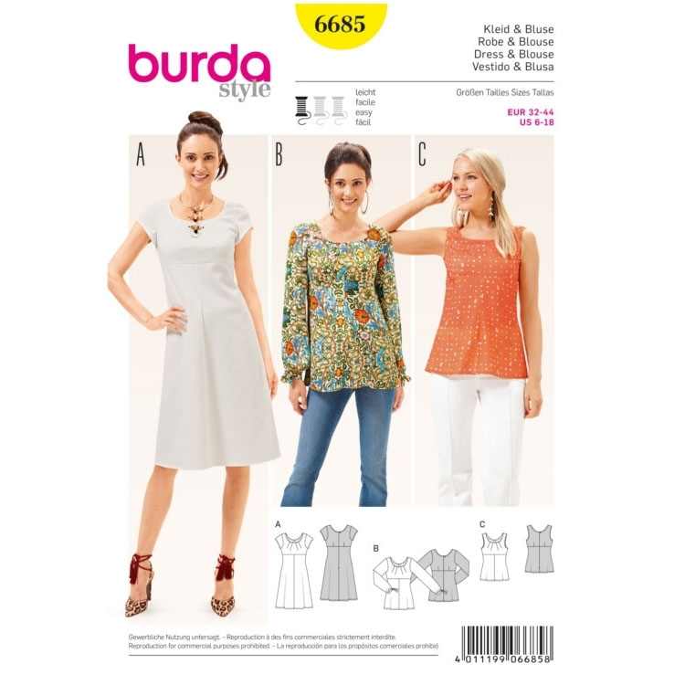 Dress & Blouse, Burda 6685
