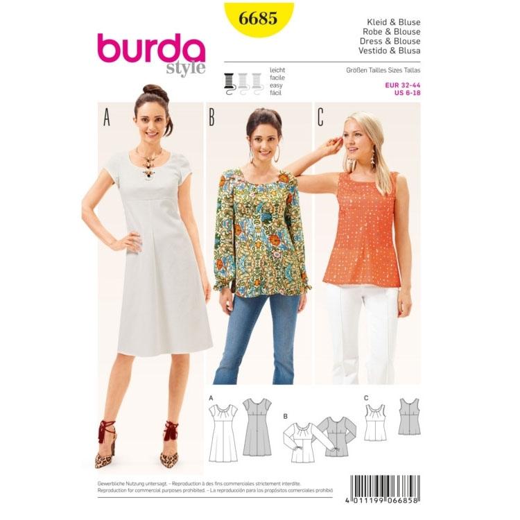 Schnittmuster Kleid & Bluse, Burda 6685 | stoffe-hemmers.de