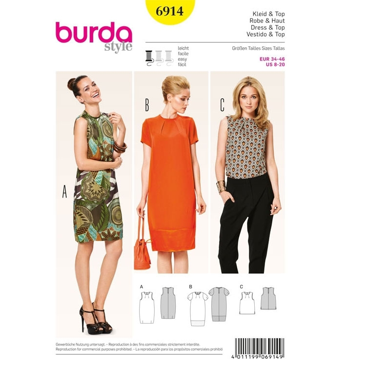 Sewing pattern Top, Dress, 6914 | fabrics-hemmers.com