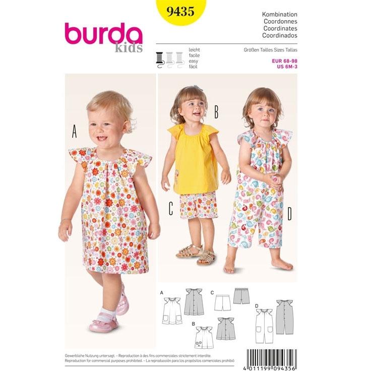 Schnittmuster für Kleid, Top, Hose und Overall von Burda Nr 9435