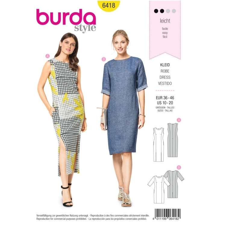 Sewing pattern Burda 6418, dress | fabrics-hemmers.com