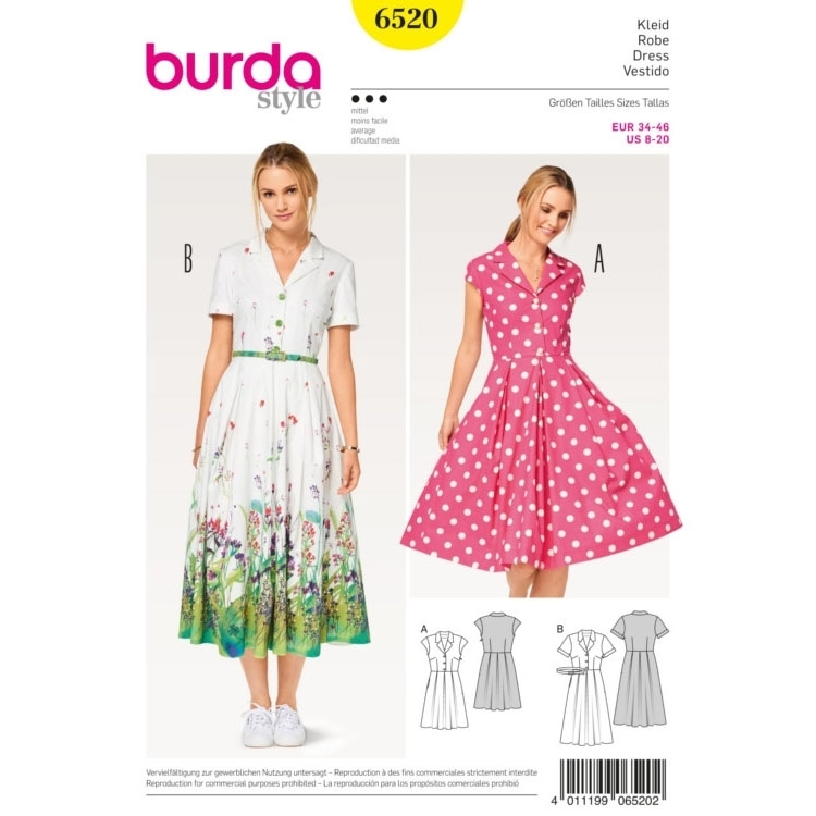 Pattern Dress, Burda 6520 | fabrics-hemmers.co.uk