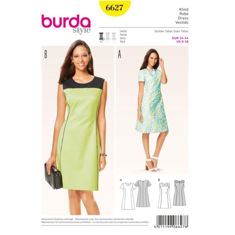 Schnittmuster Kleid, Burda 6627 | stoffe-hemmers.de