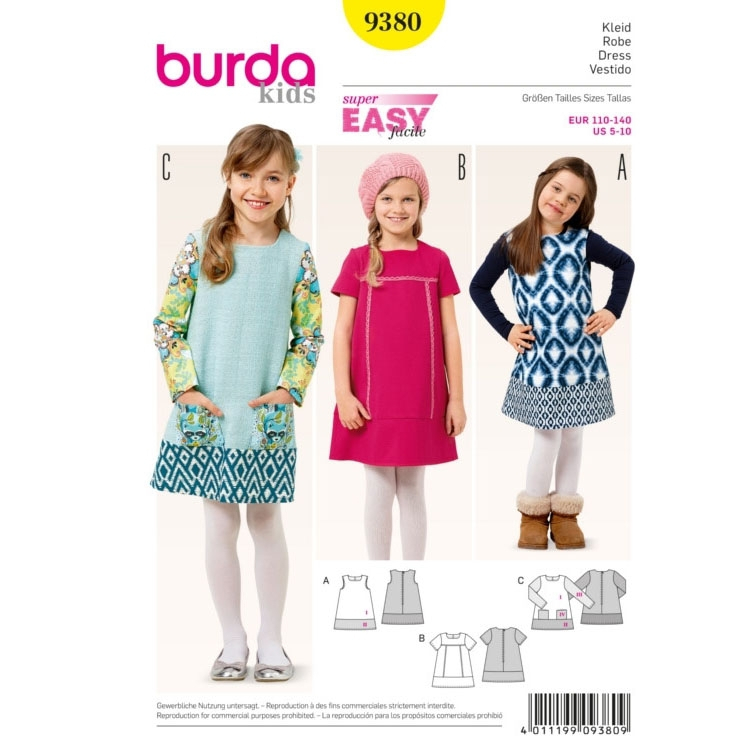 Sewing pattern dress, Burda 9380