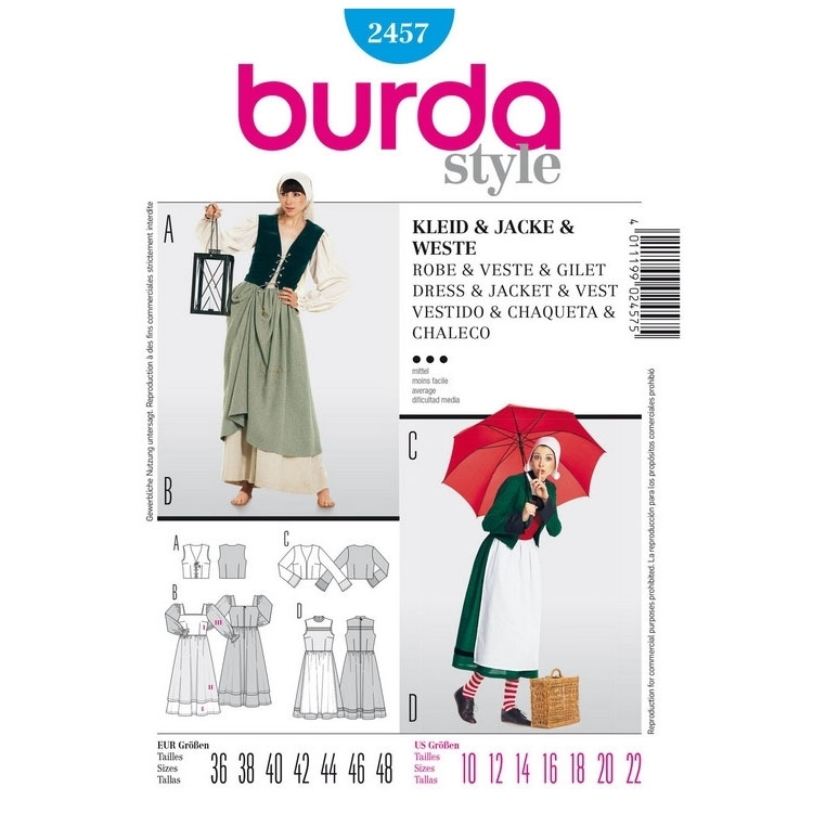 Sewing patterns Dress, Jacket and Vest, Burda 2457