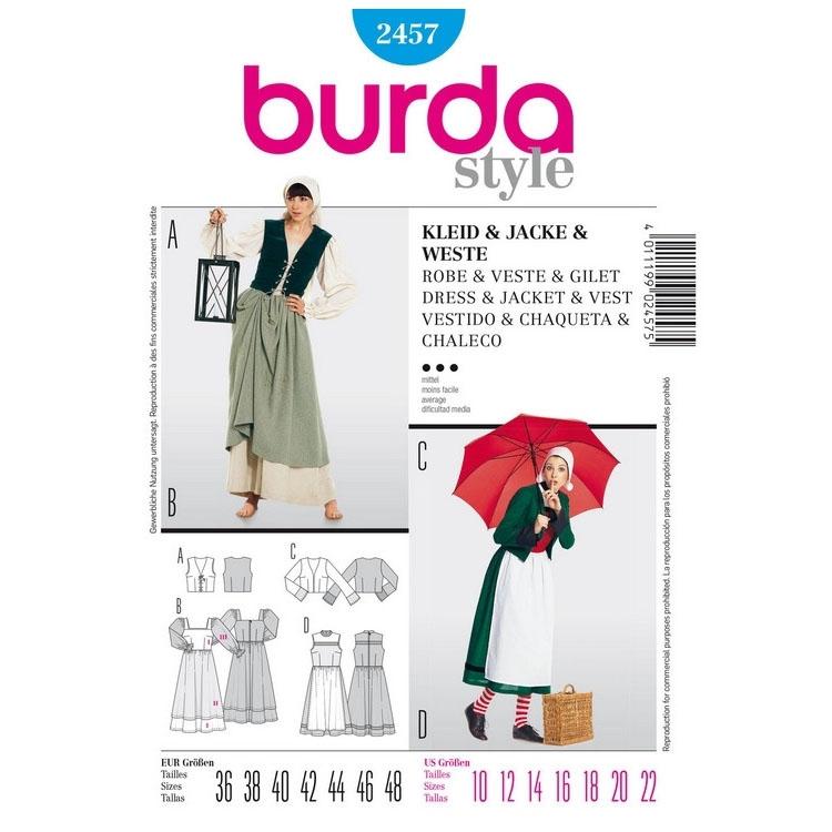 Sewing patterns Dress, Jacket and Vest, Burda 2457   fabrics-hemmers.com