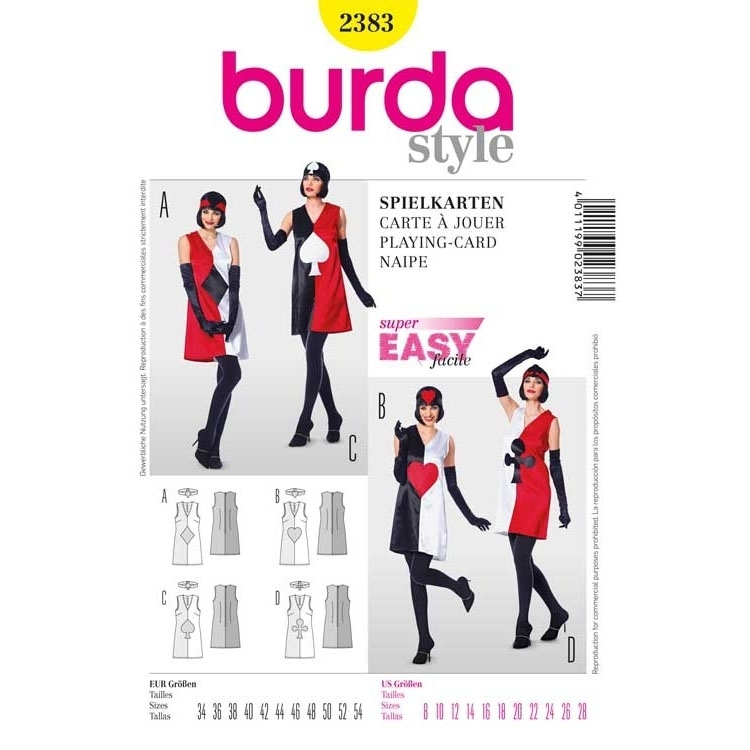 Sewing pattern dress with motif of playing cards, Burda 2383
