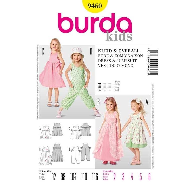Schnittmuster für Kleid mit Überrock und Overall von Burda Nr 9460