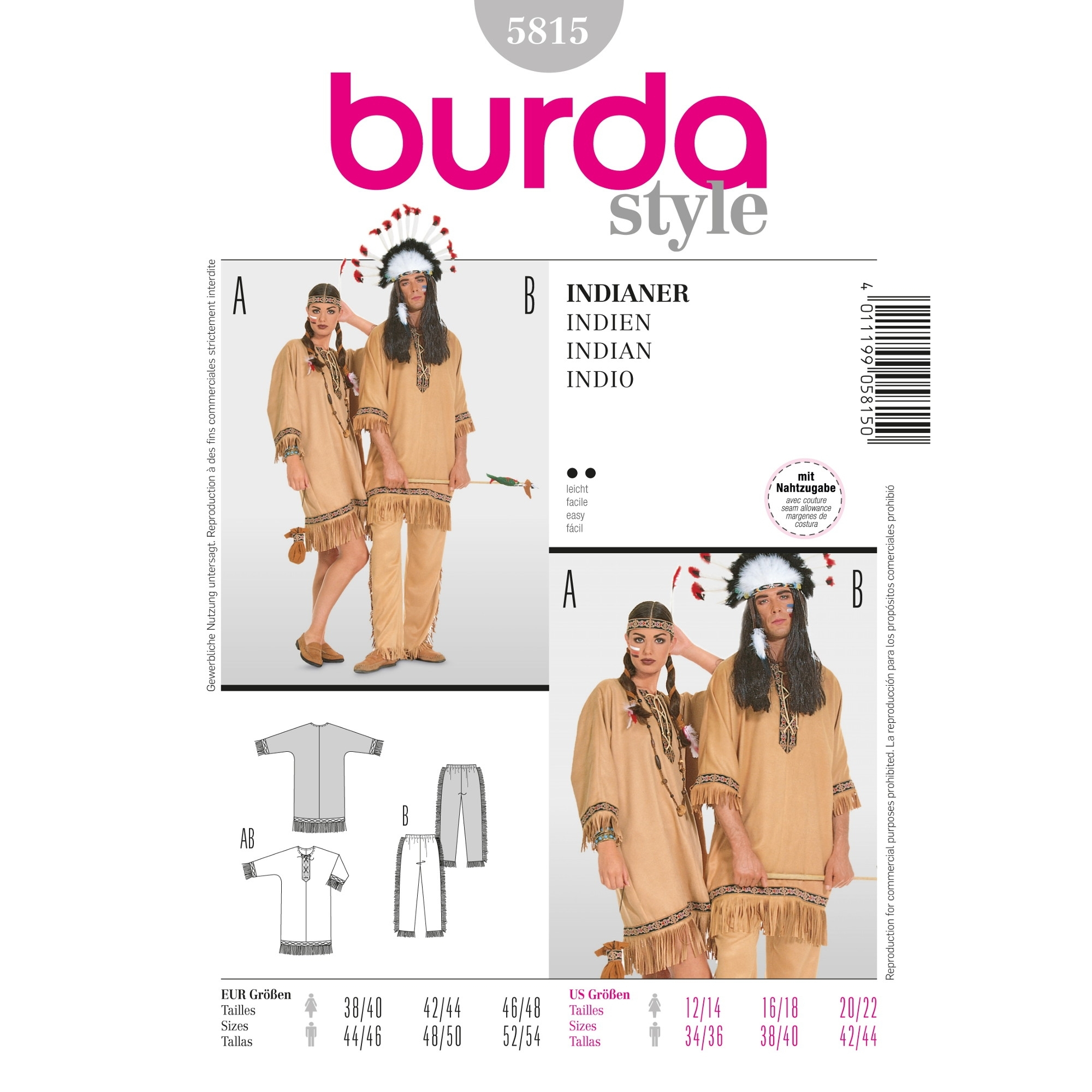 Sewing patterns Indiańska para, Burda 5815
