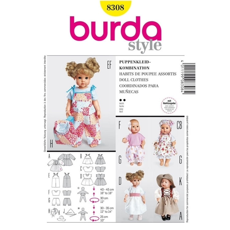 Paper Pattern Doll Clothes, Burda 8308