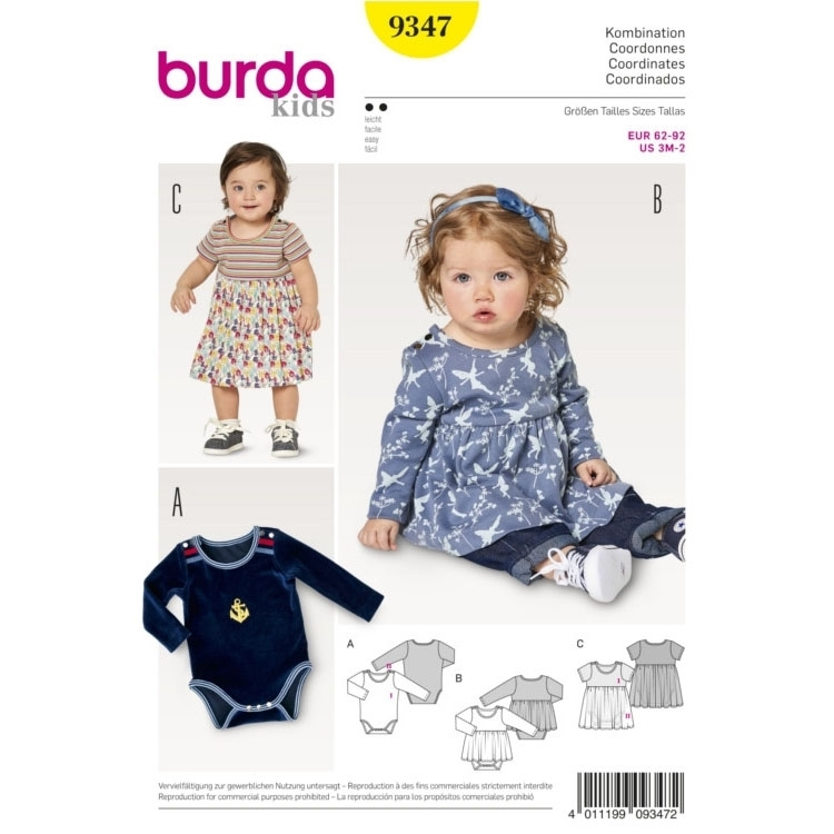 Sewing pattern Burda 9347, baby: body, tunic and dress | fabrics ...